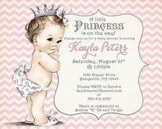 Chevron Princess Baby Shower Invitation For Girl  Pink by jjMcBean, $20.00
