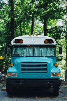 A 1990 Bluebird bus converted into a traveling home in Atlanta, Georgia.