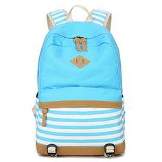 Women Girls Students Rucksack Canvas Striped Shoulder School Backpack Travel Bag | eBay