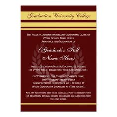 Formal/College Graduation Announcements ~ Maroon and Yellow Gold