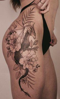 Dope Tattoos For Women, Leg Tattoos Women, Trendy Tattoos, Cute Tattoos, Discreet Tattoos For Women, Back Tattoo Women, Dragon Tattoo Hip, Dragon Tattoo For Women, Dragon Tattoo On Shoulder