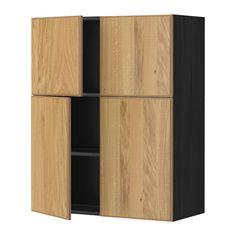 METOD Vægskab med hylder/4 døre - Hyttan egetræsfiner, træmønster sort - IKEA