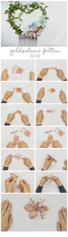 #Geldscheine #falten #Blume Schöne Geldgeschenke selber basteln ist ganz einfach - Auf ROOMBEEZ findet Ihr Schritt-für-Schritt Anleitungen und Videos �