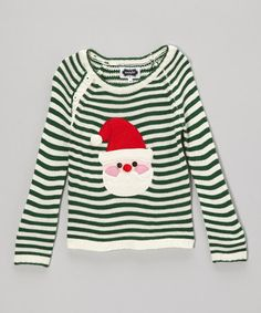 Look what I found on #zulily! Green Knit Santa Sweater - Infant, Toddler & Kids by Mud Pie #zulilyfinds