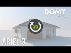 Kolejna wersja projektu Ariel, tym razem wzbogacona o piwnicę.Jednorodzinny budynek mieszkalny, parterowy, podpiwniczony, swoim pełnym programem funkcjonalnym zapewnia optymalny... Modern Barn House, Modern Bungalow House, My House Plans, Ariel, Youtube, Future House, Modern Houses, Trendy Tree, Youtubers