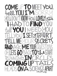Coldplay - The Scientist Poster, Song Lyrics Print, Music Poster, Song Lyrics Frases Coldplay, Coldplay Lyrics, Coldplay Poster, Cool Lyrics, Music Lyrics, Coldplay The Scientist, Tell Me Your Secrets, Lyric Art, Song Quotes