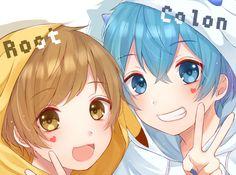 Anime Cupples, Blue Anime, Anime Chibi, Anime Art, Friend Anime, Anime Best Friends, Kawaii Chibi, Kawaii Anime, Neko Boy
