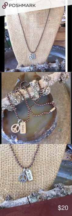 """Sterling Silver Mini Charms PEACE Bliss Necklace🎄 Sterling Silver 925 Bohemian, Boho, Urban, Hippie Chic PEACE SIGN Charm  Inspirational Saying BLISS Sterling Second Charm  Adjustable Bronze Ball Chain Necklace 18"""" Perfect Christmas Stocking Stuffers👏🏻♥️🎄♥️👏🏻 Artisan Jewelry Jewelry Necklaces"""