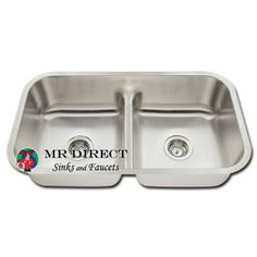 """Amazon.com @$170.68 Undermount Stainless Steel Double Bowl Low Divide Kitchen Sink Undermount Stainless Steel Kitchen Sink - Unique Half-Divide with Hardware & Cardboard Cutout Template Included  Outside Dimensions: 32 1/2"""" x 18 1/8"""" x 8"""" Centered Drain: 3 1/2"""" (89mm) Drain Opening  Brushed Satin Finish, Fully Insulated & Thick Sound Dampener Rubber Pad  Certified 18 Gauge Stainless Steel, 18/10 Chromium/Nickel Content  Lifetime Warranty"""