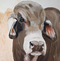 Buy Brahman Bull, Acrylic painting by Julie Hollis on Artfinder. Discover thousands of other original paintings, prints, sculptures and photography from independent artists. Oil Pastel Paintings, Paintings For Sale, Original Paintings, Cow Painting, Painting & Drawing, Longhorn Cattle, Colored Pencil Portrait, Cartoons Love, Cow Art