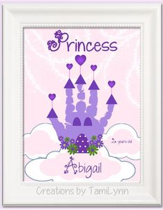 Princess Castle Handprint Art Personalized by CreationsbyTamiLynn Baby Crafts, Toddler Crafts, Crafts To Do, Crafts For Kids, Projects For Kids, Diy For Kids, Art Projects, Craft Activities, Preschool Crafts