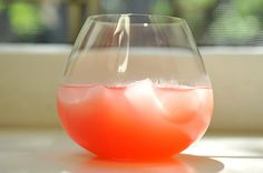 Watermelon Lemonade  ½ c sugar  4 c cubed watermelon   3½ c water   ½ c fresh lemon juice  1. Boil sugar +1/2 c water, stirring sugar to dissolve. Set aside.  2. Puree watermelon until smooth;strain through a fine mesh sieve. This should yield ~2 c of watermelon juice.  3. Mix the simple syrup w/3 c cold water + the lemon juice. Stir well.  4. Fill glasses with ice, add ~3 tablespoons of watermelon juice; top with lemonade. Stir gently before serving.