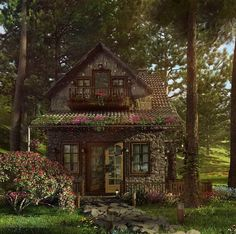 perfectly picturesque cabin in the woods, rounded stone, tile roof, wood trim, love the windows.