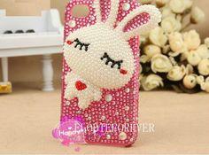 Bling Bling Luxury 3D Rhinestone Crystals Swarovski Pearl Rabbit iPhone 4 Case iPhone 4S Case iPhone 5 Case handmade A02 via Etsy