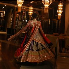 Fullonwedding - Bridal Wear - 10 Best Sabyasachi Bridal Outfits - Blue Red Lehenga