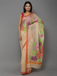 Beige Green Handwoven Banarasi Cotton Silk Saree