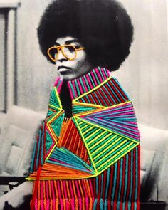 Mexican textile artist Victoria Villasana weaves colourful graphic patterns onto the portraits of pop culture icons, politicians and artists using bright, colourful threads of yarn. Collage Art, Collages, Street Art, Textiles Sketchbook, Mexican Textiles, Mexican Artists, A Level Art, Inspiration Art, Yarn Bombing
