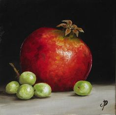 Jane Palmer Fine Art: Pomegranate with Grapes