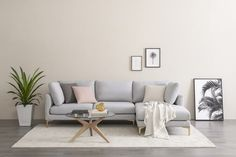 Adams Chaise Sectional Sofa, Dove Gray, Right Facing, Brass Small Sectional Sofa, Living Room Sectional, Home Living Room, Apartment Living, Couches, Couch With Chaise, Sofa Set, Apartment Ideas, Living Area