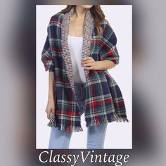 NEW LISTINGTartan plaid cape /scarf reversible Beautiful green - red - blue and white shawl. Arriving this week. Large plaid one side and small plaid on other. Boutique Jackets & Coats Capes