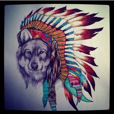 Wolf in a headdress