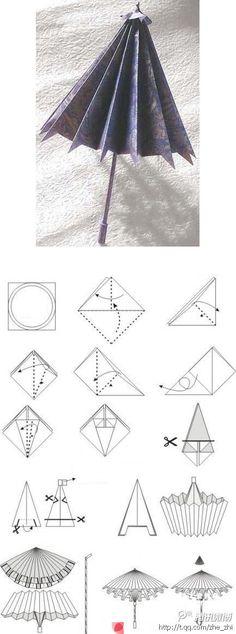 DIY Paper Parasoll Umbrella Origami Tutorial