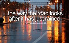 The way the rain makes the road look in the evening with lights <3