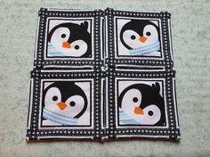 turquoise penguins set of mug rugs Penguin Mug, Mug Rugs, Hand Quilting, Penguins, Coasters, Christmas Decorations, Turquoise, Mugs, Etsy