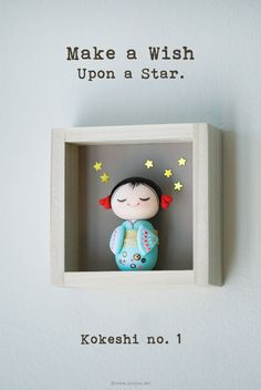 Miniature Kokeshi doll . Hoshiko - joojoo
