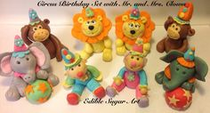 CIRCUS Family BIRTHDAY Cake TOPPER  Monkey Elephant Lion fondant safari animals circus animals first birthday clown girls cupcake toppers. $58.00, via Etsy.