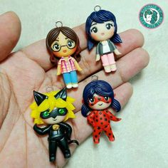 """Custom made chibis of the characters from the """"Miraculous Tales of Ladybug and Cat Noir"""", ordered by Mrs. Ada to her daughter! Hehe thank you for ordering again maam. I will be announcing the winner of my giveaway later! Ladybug Crafts, Ladybug Party, Meraculous Ladybug, Miraculous Ladybug Toys, Miraculous Ladybug Wallpaper, Muñeca Baby Alive, Diy Gift For Bff, Crea Fimo, Barbie Doll Set"""