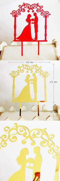 [Visit to Buy] Single sale Love Wedding Mr & Mrs Cake Flag Topper Gold Red Acrylic Cake Flags For Wedding Anniversary Party Cake Baking Decor #Advertisement