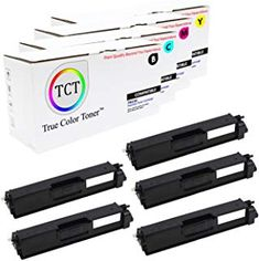 TCT Premium Compatible Toner Cartridge Replacement for Brother Works with Brother Printers (Black, Cyan, Magenta, Yellow) - 5 Pack Toner Cartridge, Printers, 1 Year, Crisp, Brother, It Works, Packing, Color, Black