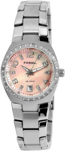 Fossil Women's AM4175 Glitz Quartz Pink Mother-Of-Pearl Dial Watch #Fossil