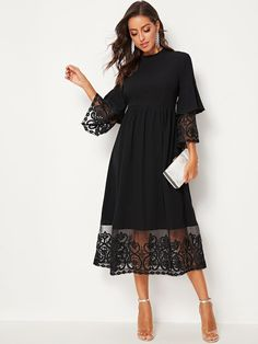 SHEIN Elegant Mock-Neck Embroidery Organza Cuff and Hem Long Dress Women Autumn Fit and Flare Dress Empire Abaya Dresses Midi Dress With Sleeves, Belted Dress, Robes Midi, Looks Black, Plain Black, Fall Dresses, Ladies Dresses, Types Of Sleeves, Flare Dress