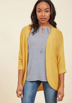 <p>You'll become a mixology whiz with this slouchy cardigan to layer over everything! Combining an open knit, cropped sleeves, and a mustard yellow hue, this versatile sweater is consistently the clever outfit element that holds your ensemble together.</p>