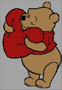 Winnie the Pooh with Heart Tunisian Simple Stitch Crochet Afghan Graph Pattern Cross Stitch Baby, Cross Stitch Kits, Cross Stitch Charts, Cross Stitch Patterns, Winnie The Pooh Blanket, Disney Winnie The Pooh, Afghan Stitch, Pixel Crochet, Crochet Disney
