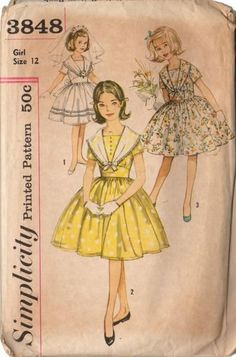 Vintage 1950s Simplicity Sewing Pattern 3848 Girls Long Collar Dress with Full…