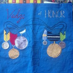 Alicia deBlaey Vadge of Honor: dye stitch (yep that is shisha mirror technique with a dollar and a dime) appliqué and . Another fine alumnae of the UWGB Textiles studio! Political Environment, Collaborative Art Projects, Puff Paint, Raise Funds, Fundraising, Applique, Students, Textiles, Stitch