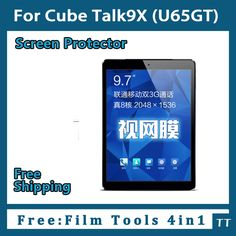 """3 pieces/lot HD Screen protector for Cube Talk9X U65GT 9.7""""Tablet,Cube Talk9X Protective Film+4 in1 Film Tools #Affiliate"""