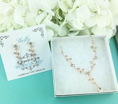 Rose Gold Rhinestone Vine Teardrop Jewelry Set, Swarovski Crystal Bridesmaid Jewelry Set, Bridesmaid Jewelry Gift, bridesmaid 454982932 by AllureWeddingJewelry on Etsy