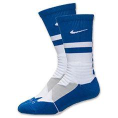Nike Hyper Elite Fanatical Crew Socks| FinishLine.com | White/Game Royal