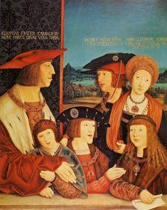Kaiser Maximilian mit Familie (der Sohn Philipp der Schöne, die Gattin Maria von Burgund, die Enkel Ferdinand I., Karl V. und sein Schwiegerenkel Ludwig II. ...