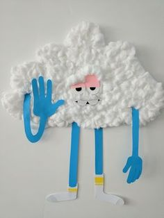 I made Cloud guy from paper and cotton balls