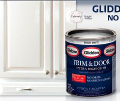 Glidden.  best paint for trim and door, for real.  I used it to paint furniture and leaves very little brush strokes and has a high gloss finish.  love it.