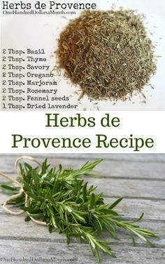 DIY Herbs de Provence Recipe - One Hundred Dollars a Month Homemade Spice Blends, Homemade Spices, Homemade Seasonings, Spice Mixes, Herb De Provence Recipe, Herbs De Provence Chicken, Cough Remedies For Adults, Spice Combinations, Herb Recipes