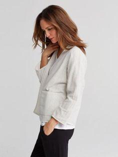 Kimono 3/4-Sleeve Jacket in Reversible Organic Cotton Doubleweave-S7DDT-J4596
