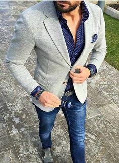 Giacca Casual in Lana da Uomo Blazer Blu Marino con Colletto