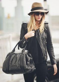 brown wool hat with Leather Coat / Jacket and all-black Outfit