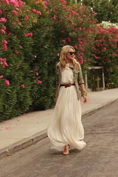 beige maxi dress, military jacket
